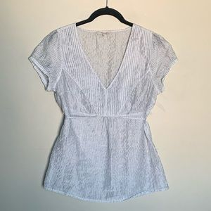 RW&Co sheer blouse with tie at waist size M